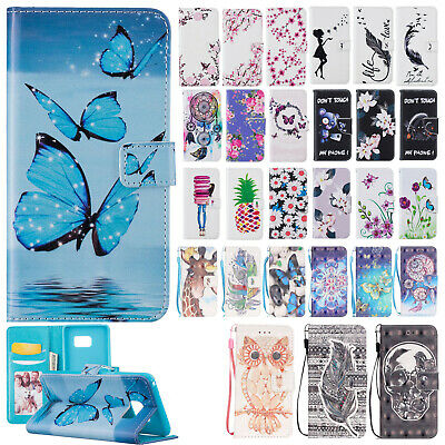 For Samsung Galaxy Phone Painted Flip Leather Wallet Card Slots Case Stand Cover