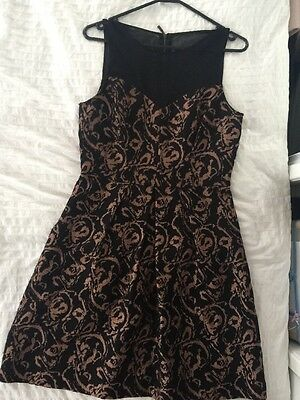 Ladies CUE Dress, Size 10, Excellent Condition, Black And Bronze
