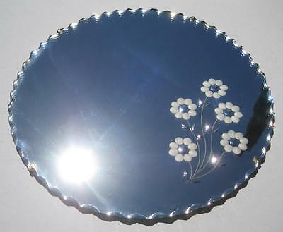 Vintage 50s art deco round wall mirror scalloped-edges c/w floral etched motif