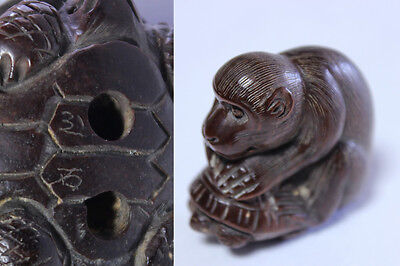 Japanese Netsuke Wood Fine Carving Monkey Antique Signed
