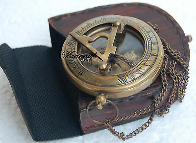 """3"""" Push Button Sundial Compass Nautical Brass Compass with Chain/LEATHER Case"""
