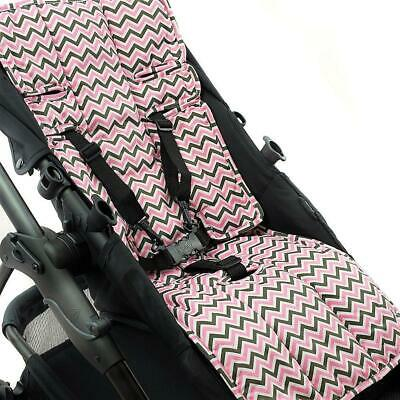 Outlook Pram Liner - Cotton+Cotton Pram Liner -Pink / Charcoal Mini Chevron