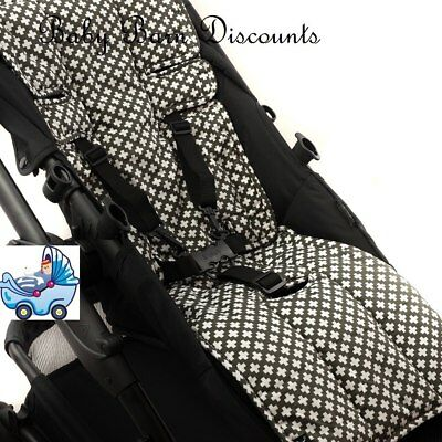 Outlook Pram Liner - Cotton + Cotton Pram Liner - Charcoal Crosses