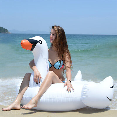 Giant Rideable Swan Inflatable Float Raft Summer Sea Swimming Pool Water Lounge