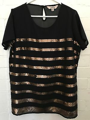 Ladies Black and Bronze Short Sleeve Top AVELLA Plus Size 18