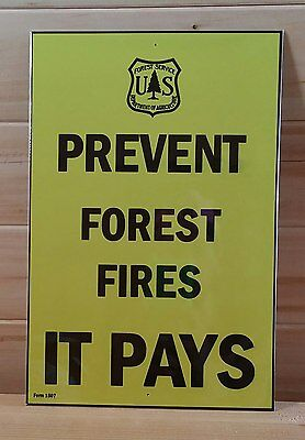 *prevent Fires* U.s. Forest Service Metal Sign 8X12 National Forest Fighting