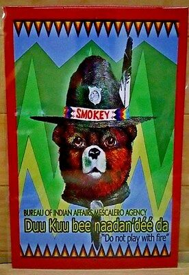 *native American Smokey Bear Sign* Forest Service Vintage Image Apache Indian