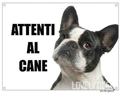 BULLDOG FRANCESE attenti al cane mod 1 TARGA cartello IN METALLO