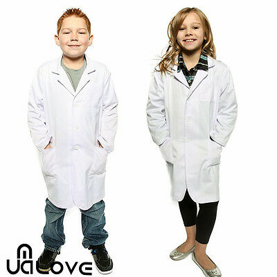 Kids White Lab Coat Boys Girls Scientist Doctor School Fancy Dress Age 6-14 New