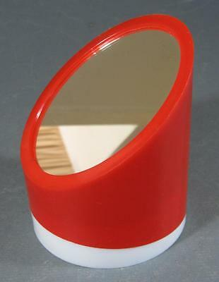 Retro/vintage 70s red/white space-age plastic make-up mirror & caddy kartell-era
