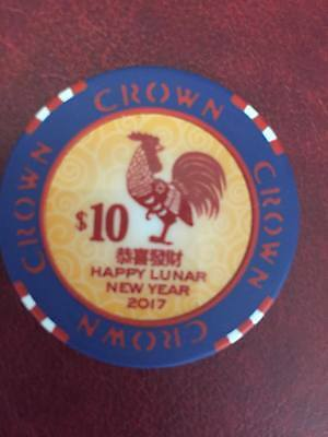 2017 $10 Year of the Rooster Melbourne Crown  Casino chip