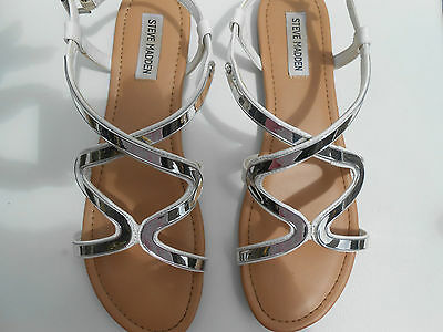 Steve Madden White and Silver Sandals Size 10  41