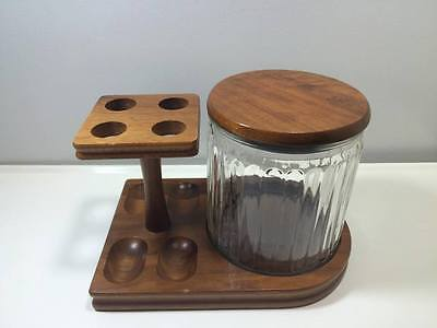 """Decatur Industries """"Deco"""" Pipe Stand and Humidor Genuine Walnut Made in USA"""