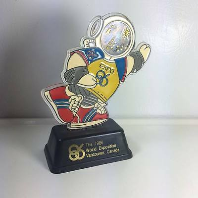 """Expo 86 """"Ernie"""" the Mascot Plastic Trophy T.M.1986 World Exposition"""