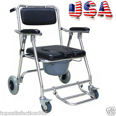 Mobile Commode Chair 4 brakes Wheels  Footrests Wheelchair Toilet Transfer USA