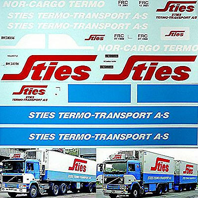 Sties Thermo Transport Volvo F12 + Scania 142H 1:24 Decal