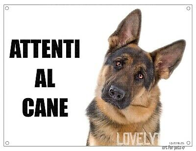 PASTORE TEDESCO attenti al cane mod 1 TARGA cartello CANE IN METALLO