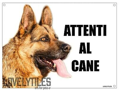 PASTORE TEDESCO attenti al cane mod 3 TARGA cartello CANE IN METALLO