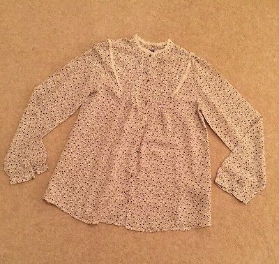 Girls Blouse Zara Age 11 To 12 Years Cream & Brown Print With Lace **BRAND NEW**