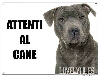 PITBULL attenti al cane mod 4 TARGA cartello CANE IN METALLO
