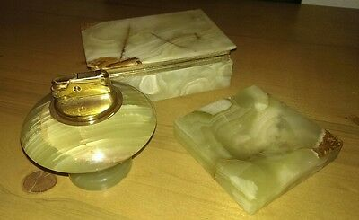 Vintage Green Marble Onyx Cigarette Box, Table Lighter & Ashtray