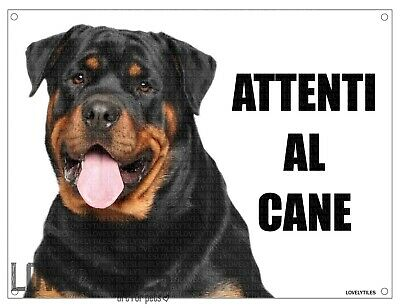 ROTTWEILER attenti al cane mod 4 TARGA cartello CANE IN METALLO