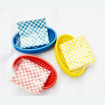 6pcs Hot Dog Plasic Basket + 24pcs Checked liners Hamburger Fries Baskets Paper