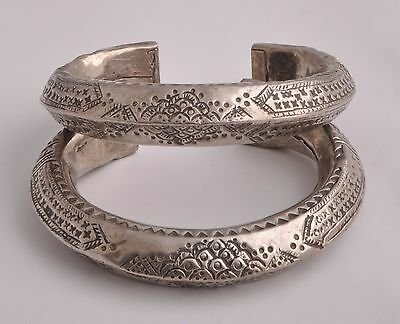 Vintage Egyptian Ethnic Bedouin Silver Nubian Anklet Bracelet Cuff Pair