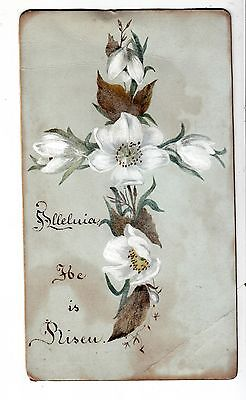 Alleluia He is Risen Floral Cross Easter  Vict Card c1880s