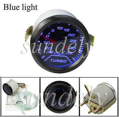 Universal 52mm 2″ Blue LED Car Turbo Boost Pressure Gauge Meter Smoked 0 - 35Psi