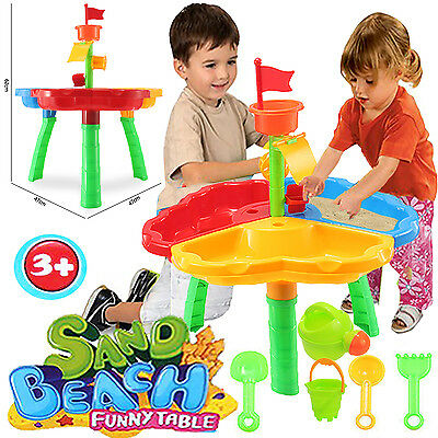 2 Section Kids Sand Water Lid Table Beach Sandpit Play Activity Children Toy Set