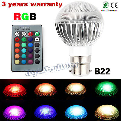 B22 RGB 5W Dimmable LED Light Bulb Colour Changing Party Club KTV Mood Lamp A+++