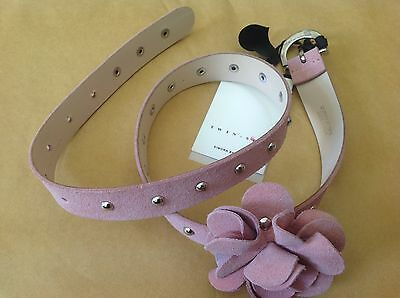 New Twin-Set Belt Pink Leather Sued Flower Made in Italy