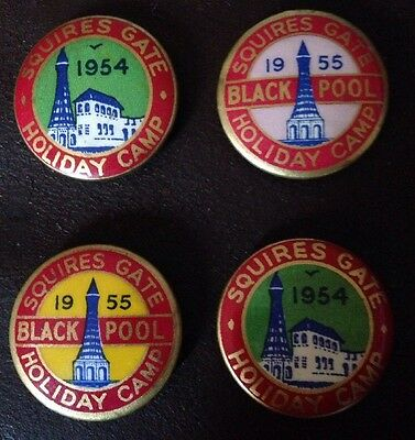 Squires Gate Blackpool Holiday Camp  Set Of 4 Pin Badges Superb Condition 1950s
