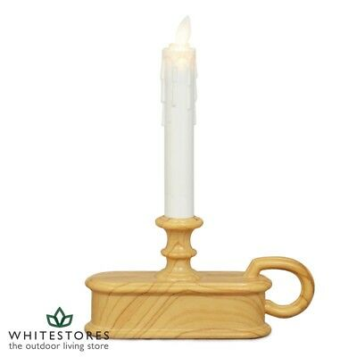 Indoor White Flameless LED Electric Christmas Candle Decoration in Wooden Holder
