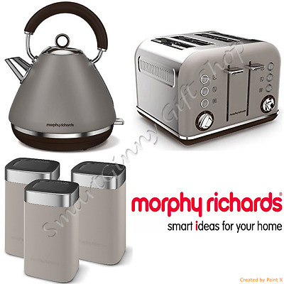 Morphy Richards Grey/Pebble Kettle+Toaster, Tea Coffee Sugar Canisters Set NEW
