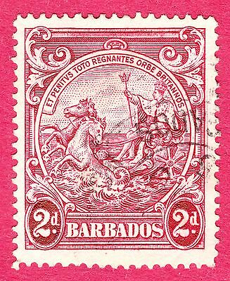 """Barbados Stamps. KGVI 1941 2d Claret.""""Extra Frame Line"""" Flaw. SG250ca.Used.#3141"""