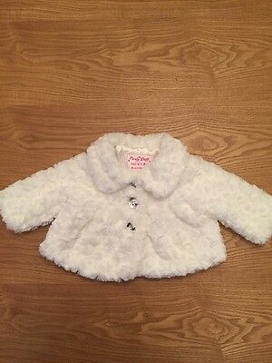 Baby Girls 0/3 White Fur Coat By Early Days