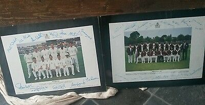 England & West indies 1991 signed prints cricket