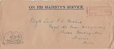 GB 1932 OHMS Cover From Air Ministry Cachet London to RAF HQ Andover