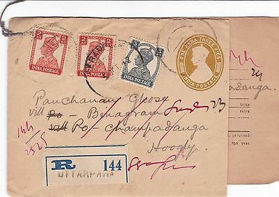 India 1942 AR Registered Cvr From Serampore to Hoogly Redirected 4a3p Rate