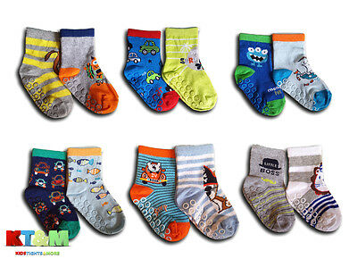 New Baby Boys ABS Anti Non Slip Cotton Socks 2 Pairs Size 9 months to 7 years