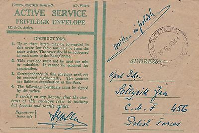 Poland Forces 1944 Honour Envelope to Soldier at CAF 456 Military