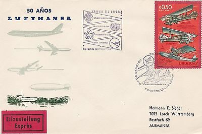Uruguay 1975 First Day Cvr Aircraft Planes Express Lufthansa to Germany