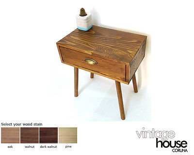 Mid Century Scandinavian Side Table, Bedside Table with Drawer