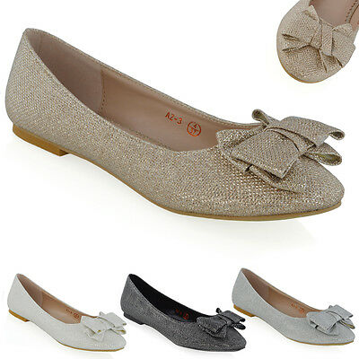 Womens Slip On Shoes Ballet Ladies Glitter Bow Ballerina Flat Pumps Size 3-8
