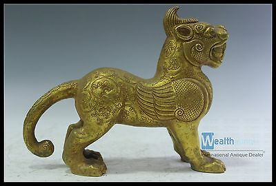 Fine Rare Chinese Beautiful Sliver Tiger Statue Gilted Gold