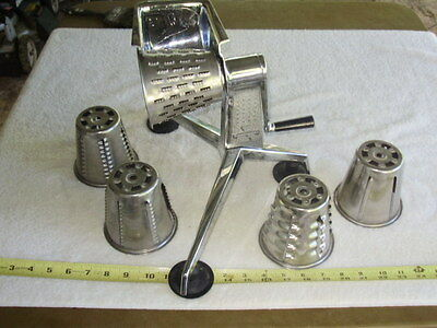 Vintage Saladmaster Stainless Steel Food Processor 5 Cones NO Finger Guard