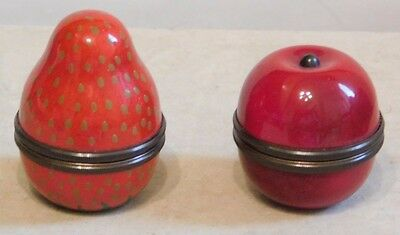 HALCYON DAYS ~ Enamel Miniature Strawberry & Apple Keepsake Boxes ~ Screw Top.
