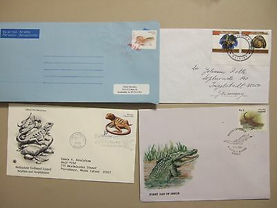 Four REPTILE  related covers:Pakistan,US,Cote d'Ivoire